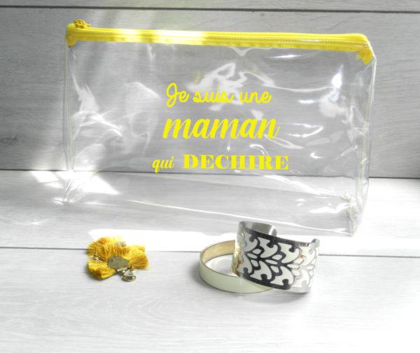Trousse transparente personnalisée jaune