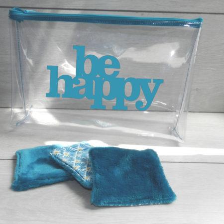 Trousse transparente personnalisée turquoise
